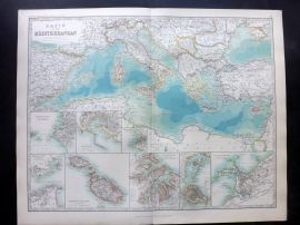 Johnston 1896 Large Antique Map. Basin of The Mediterranean